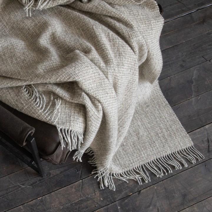 Beige Wolle Decke Bruno - WoolMe